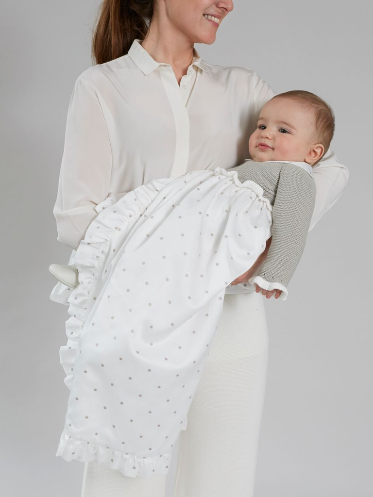 Traditional Christening gown cotton knitted top Light Grey