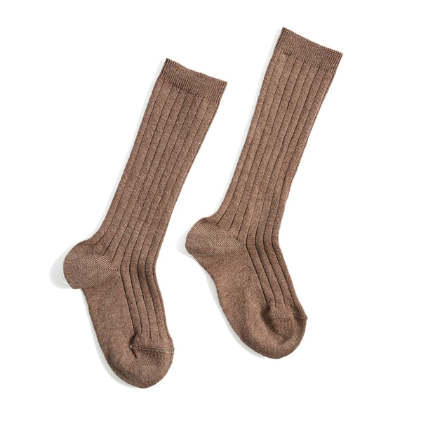 Brown Ribbed Knee-High Socks - Socks - PEPA AND CO