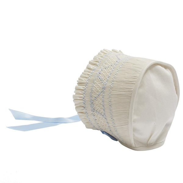 Off White and Blue Handsmocked Baby Bonnet