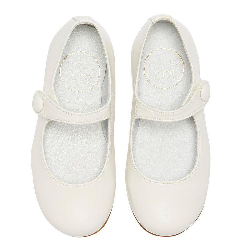 Girl's Mary-jane white leather shoes
