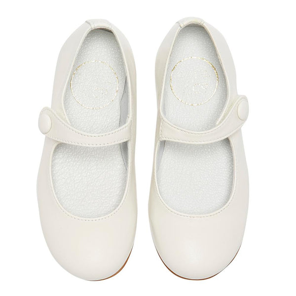 Girls White Leather Mary Jane Shoes - Shoes - PEPA AND CO