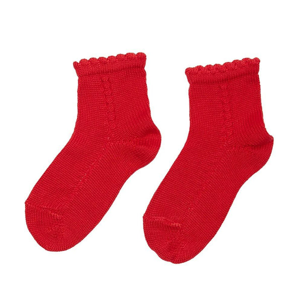 Openwork short socks - Red