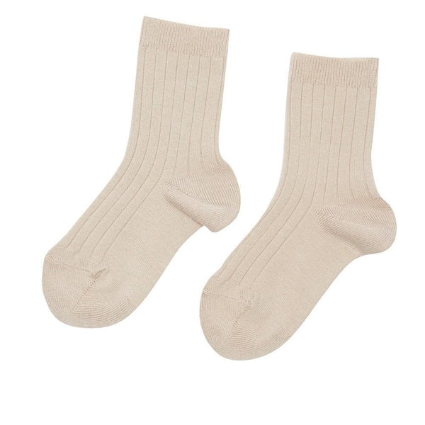 Ribbed short socks - Stone