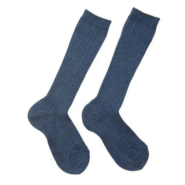 Denim Ribbed Knee-High Socks - Socks - PEPA AND CO