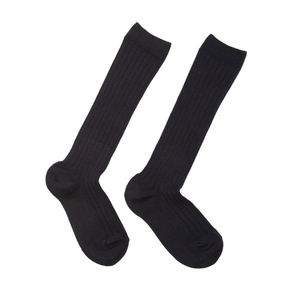 Children's Ribbed Knee High Socks - Dark Grey - Socks - PEPA AND CO