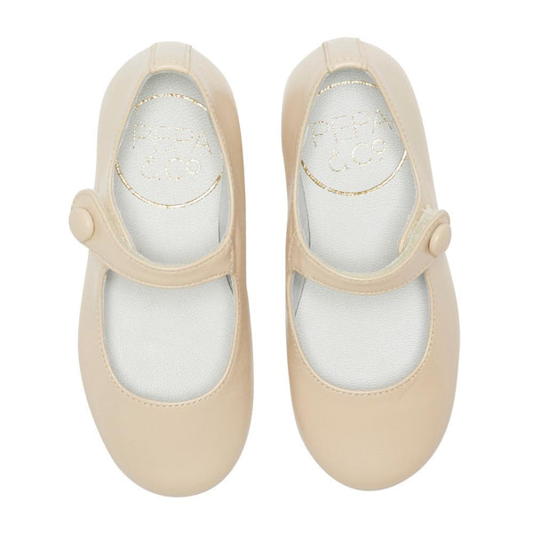 Girls Beige Leather Mary Jane Shoes - Shoes - PEPA AND CO