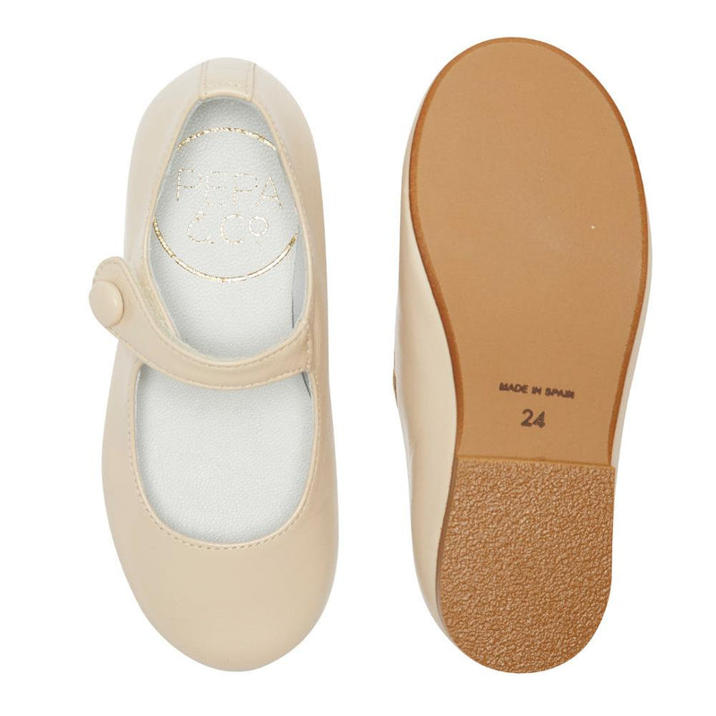 Girl's Mary-jane beige leather shoes