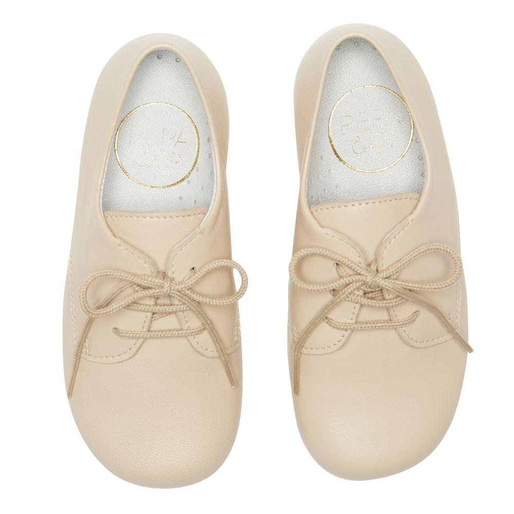 Boy's beige leather celebration shoes - Shoes - PEPA AND CO