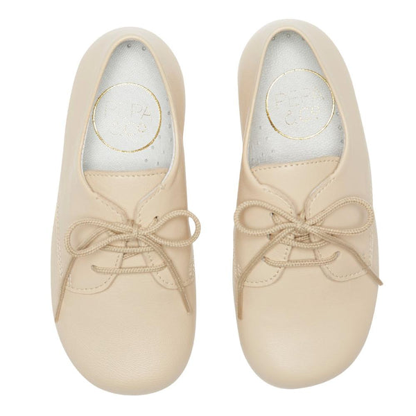 Boy's beige leather celebration shoes