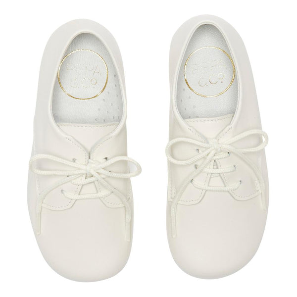 Boy's white leather celebration shoes