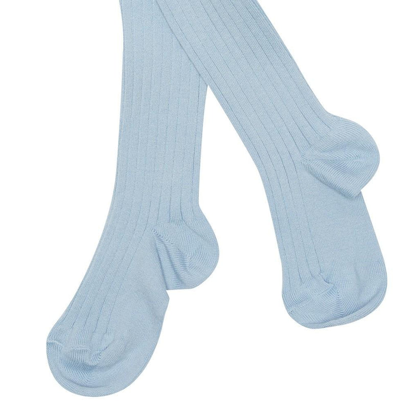 Children's Ribbed Tights - Light Blue