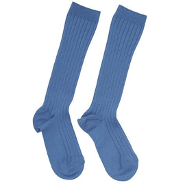 Ribbed high socks - Blue
