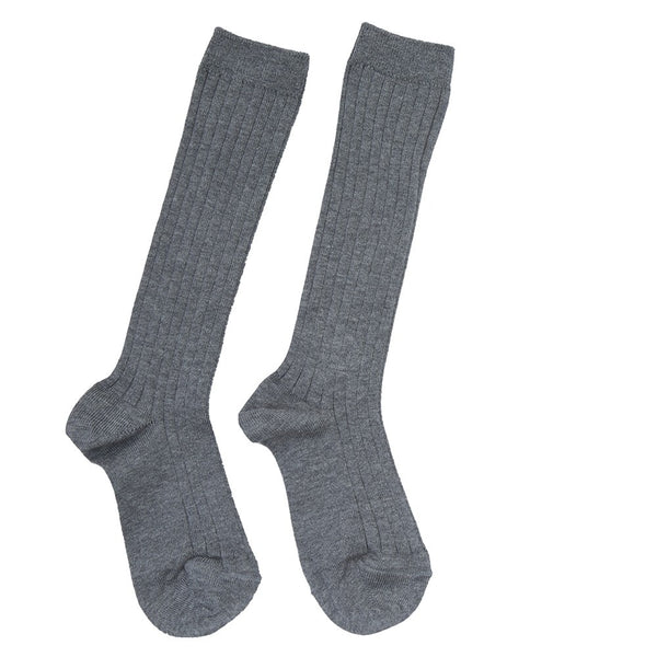 Light Grey Ribbed Knee-High Socks - Socks - PEPA AND CO