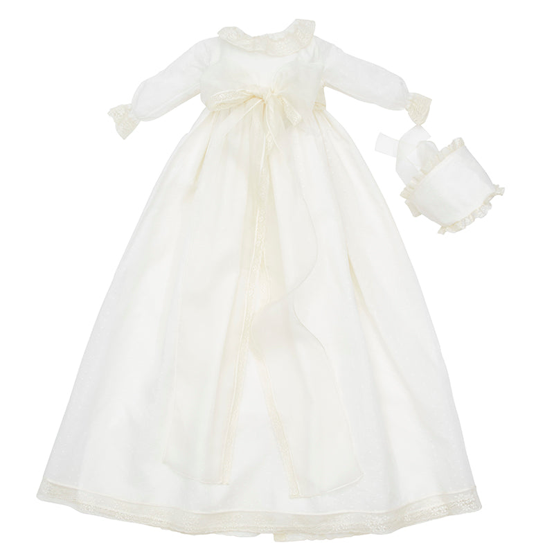 Bespoke Christening Gown with Silk Organza Sash and Bonnet - Made to order - PEPA AND CO