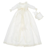Made To Order Christening Gown with Silk Organza Sash and Antique Lace - Ivory