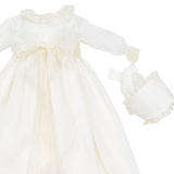 Christening Gown with Silk Organza Sash and Bonnet - Made to order - PEPA AND CO