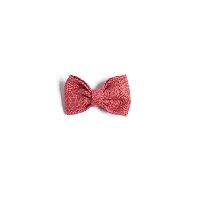 Raspberry Linen Small Bow Clip - Hair Accessories - PEPA AND CO