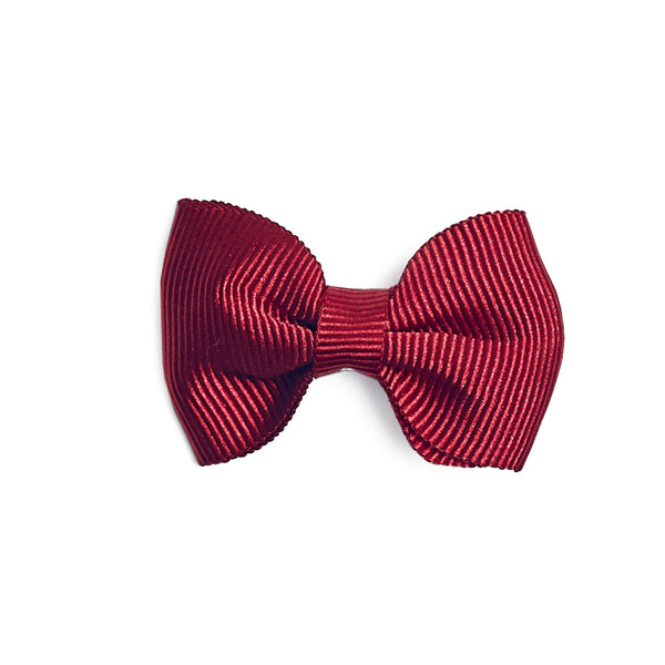 Burgundy Small Bow Clip - Hair Accessories - PEPA AND CO