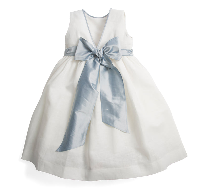 Sleeveless flower girl's dress with blue silk sash - Dress - PEPA AND CO