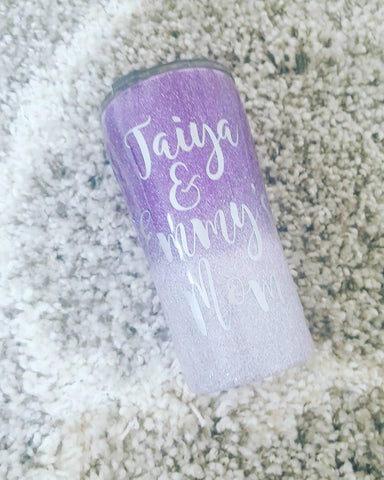 Design your own tumbler WITH glitter