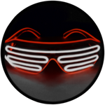 © Center for Poetic Justice, LLC • Moonglasses Red + Chrome El Wire Electroluminescent Eywear