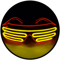 © Center for Poetic Justice, LLC • Moonglasses Red + Gold El Wire Electroluminescent Eywear