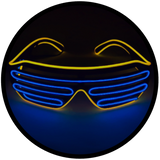 © Center for Poetic Justice, LLC • Moonglasses Gold Golden Yellow + Sapphire Navy Royal Blue El Wire Electroluminescent Eyewear Festival Concert Sports Merchandise Tour Merch Glasses