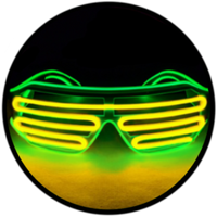 © Center for Poetic Justice, LLC • Moonglasses Lime Green + Gold Golden Yellow El Wire Electroluminescent Eyewear Festival Concert Sports Merchandise Tour Merch Glasses