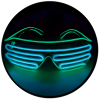 © Center for Poetic Justice, LLC • Moonglasses Emerald Green + Glacier Blue Aqua Turquoise El Wire Electroluminescent Eyewear Festival Concert Sports Merchandise Tour Merch Glasses