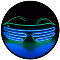 © Center for Poetic Justice, LLC • Moonglasses Emerald Kelly Green + Sapphire Navy Royal Blue El Wire Electroluminescent Eyewear Festival Concert Sports Merchandise Tour Merch Glasses