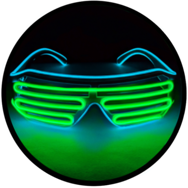 © Center for Poetic Justice, LLC • Moonglasses Glacier Blue Aqua Turquoise + Lime Green El Wire Electroluminescent Eyewear Festival Concert Sports Merchandise Tour Merch Glasses