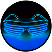 © Center for Poetic Justice, LLC • Moonglasses Glacier Blue Ice Sapphire Turquoise Aqua Blues Cool El Wire Electroluminescent Eyewear Festival Concert Sports Merchandise Tour Merch Glasses
