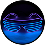 © Center for Poetic Justice, LLC • Moonglasses Violet Purple + Sapphire Blue Royal Navy El Wire Electroluminescent Eyewear Festival Concert Sports Merchandise Tour Merch Glasses