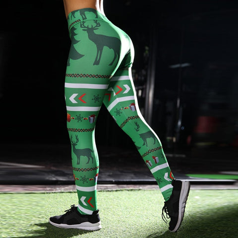 Green Christmas Reindeer Leggings