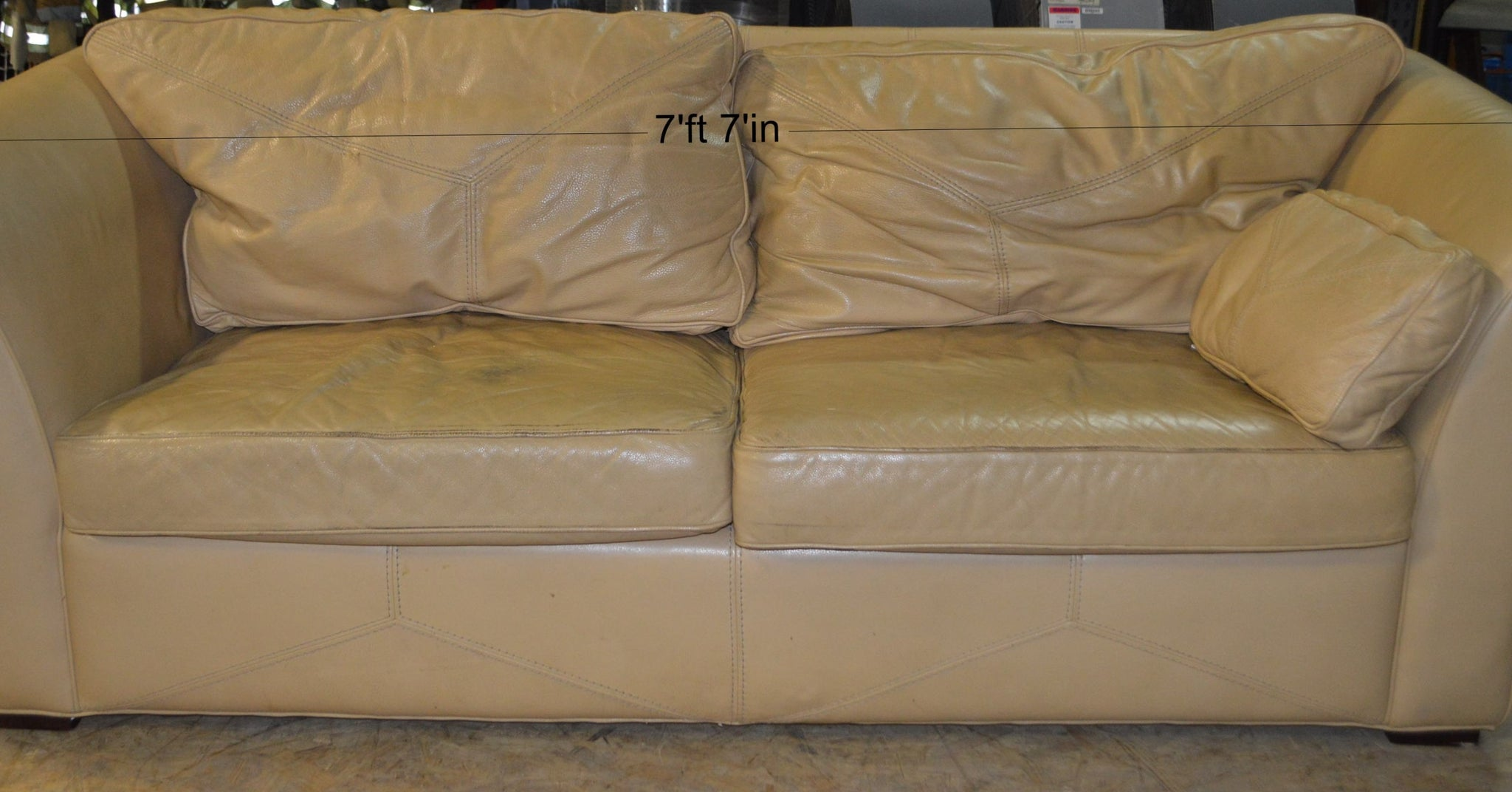 Terrific Mid Century Tan Leather Couch Northside Prop Stage Film Beatyapartments Chair Design Images Beatyapartmentscom