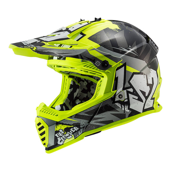 LS2 MX437J FAST MINI EVO - CRUSHER BLACK/GREY/HI-VIS YELLOW