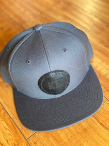 KE 'CLASSIC LOGO' Grey on Black Leather Patch Hat