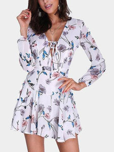 Loose Lace Up Floral Dress eotita-apparel-eotita