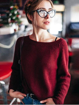 Boat Neck Wine Red Sweater eotita-apparel-eotita