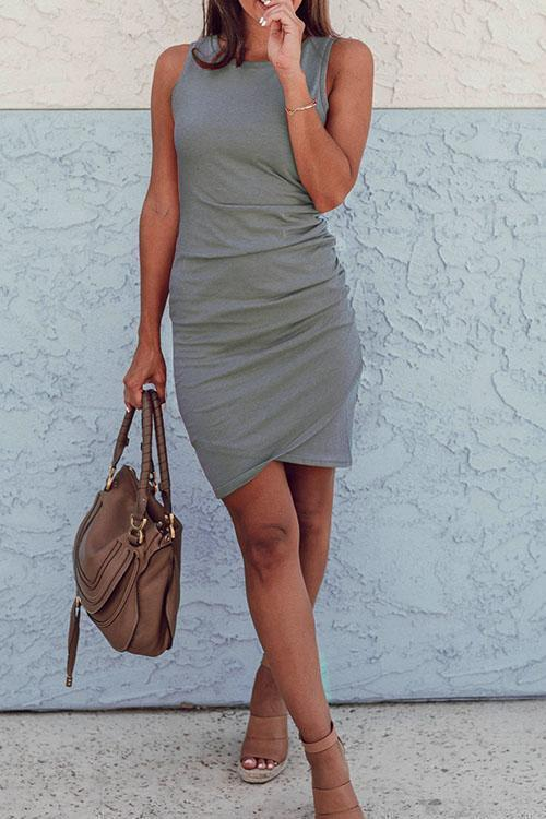 Sleeveless Ruched O-Neck Dress eotita-apparel-eotita