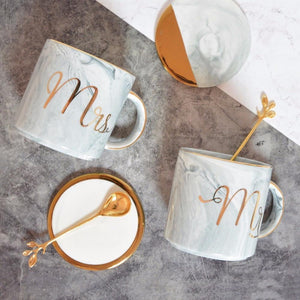 Marble Porcelain Mr & Mrs Coffee Mugs eotita-holiday-faves-eotita