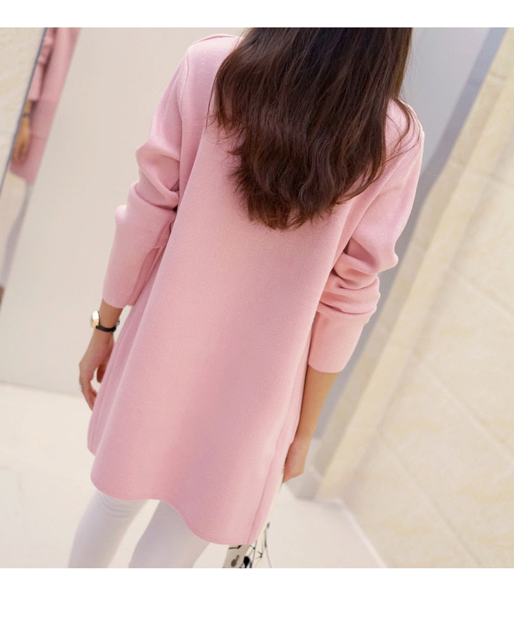New High Quality Women Spring Autumn Medium-long Cardigan 2016 New female elegant pocket Knitted Outerwear Sweater Cape Top-eotita