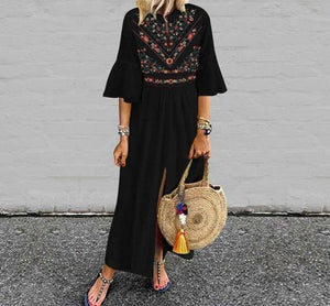 Amara - Ruffle Sleeve Front Split Boho Maxi Dress eotita-apparel-eotita