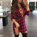 Plaid Lace-Up Shirt Dress eotita-apparel-eotita
