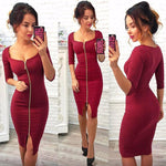 Cassie - Full Front Zip Pencil Dress eotita-apparel-eotita