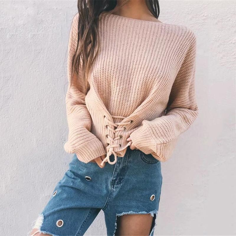Jaylene - Lace-Up Pullover Sweater eotita-apparel-eotita