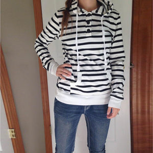 Cilla - Casual Striped Hoodie with Pocket eotita-apparel-eotita