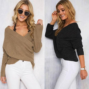 Bria - Deep V-Neck Knitted Sweater eotita-apparel-eotita