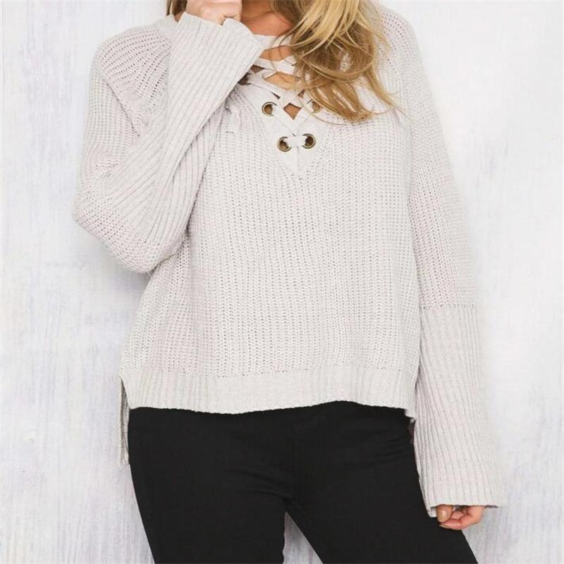 V-Neck Lace Up Cold Shoulder Flare Sleeve Sweater eotita-apparel-eotita