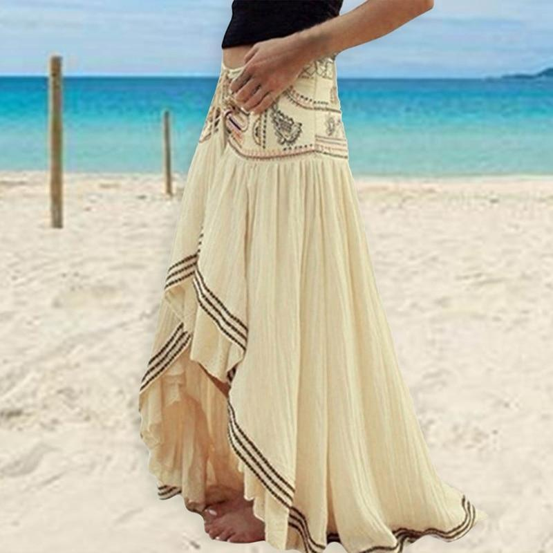 Elastic Waist Pleated Ruffle Maxi Skirt eotita-bottoms-eotita